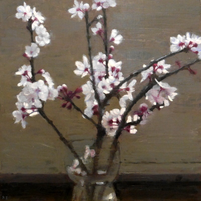 Blossom, focus, 35 x 35 cm, oil on panel SOLD