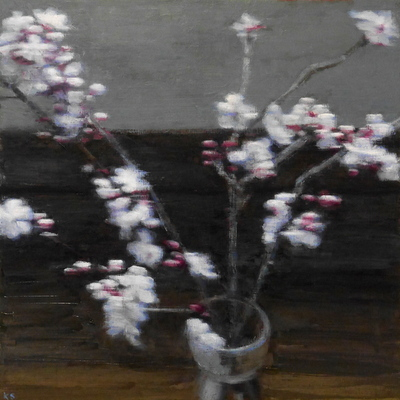 Blossom, blur, 35 x 35 cm, oil on panel  SOLD