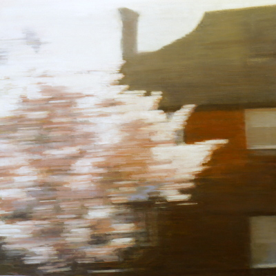 Dwelling (blossom), 80 x 80 cm, oil on panel