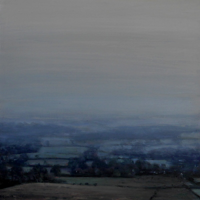 Downland 7 (mist), 2017  35 x 35 cm  Oil on panel