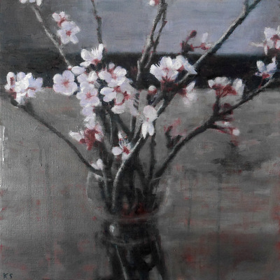Blossom, 2018  35 x 35 cm  Oil on panel  SOLD