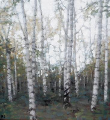 Birch 4 (autumn), 2019  28 x 26cm  Oil on panel