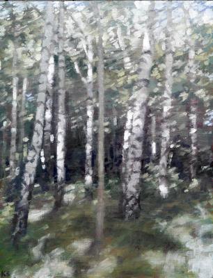 Birch 1 (summer), 2019  32 x 25cm  Oil on panel