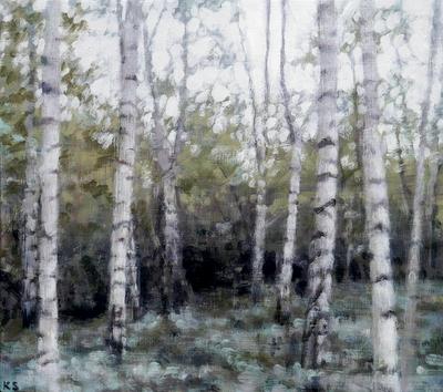 Birch 3 (autumn), 2019  25 x 28cm  Oil on panel