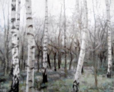 Birch 10 (winter), 2020  25 x 31cm  Oil on panel
