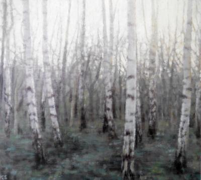 Birch 7 (winter), 2020  25 x 28cm  Oil on panel