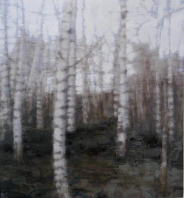 Birch 12 (autumn), 2020  28 x 26cm  Oil on panel