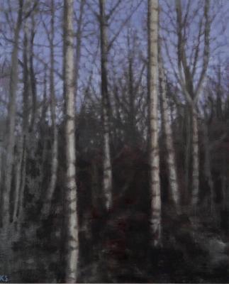 Birch 11 (winter), 2020  31 x 25cm  Oil on panel