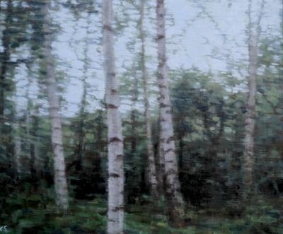 Birch 14 (summer), 2020  25 x 30cm  Oil on panel