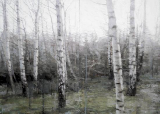 Birch, winter (diptych), 2020  40 x 56cm  Oil on 2 panels