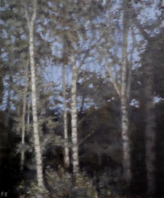 Birch 16 (spring), 2020  30 x 25cm  Oil on panel