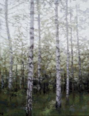 Birch 17 (spring), 2020  32 x 25cm  Oil on panel