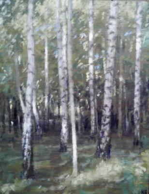 Birch (day), 2019  32 x 25cm  Oil on panel  SOLD